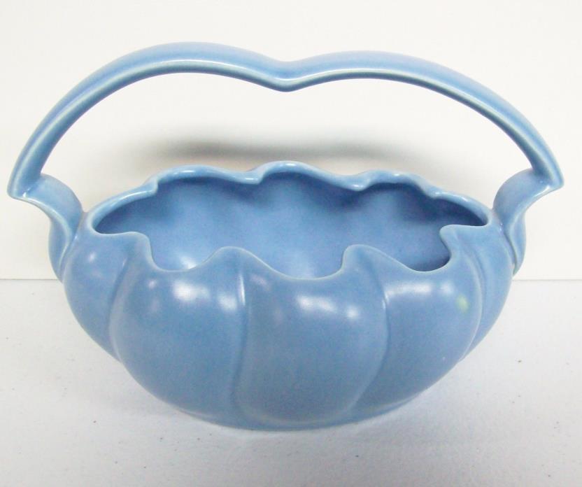 Vintage STANGL Baby Blue Pottery Planter Fruit Basket