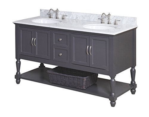 Kitchen Bath Collection KBC667GYCARR Beverly Double Sink Bathroom Vanity with