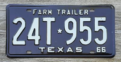 1966 Texas Farm Trailer License Plate - Excellent Original Condition
