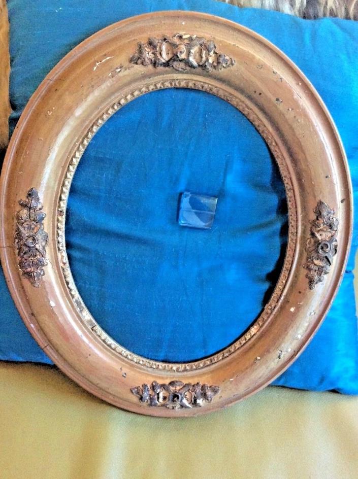 Vintage antique Picture Frame  Oval Wood gesso Carved wooden ornate