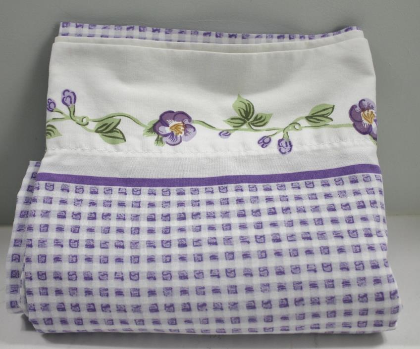 Vintage Springs Queen Flat Sheet Purple Pansy Gingham
