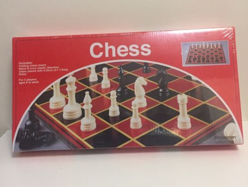 Pressman #1124 Chess Folding Board Toy Black & Ivory Plastic Staunton Pieces NIB