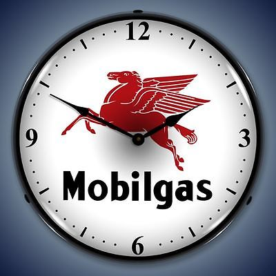 New old gas station style Mobil Gas Pegasus LIGHT UP clock  USA Made  Fast Ship