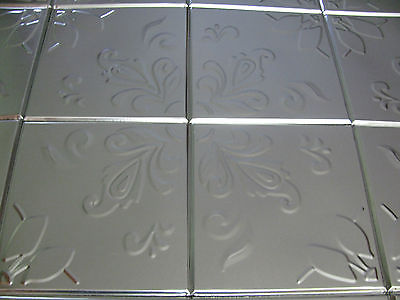 BOX OF 16 SILVER KITCHEN WALL TILES 6X6 FLORAL DESIGN
