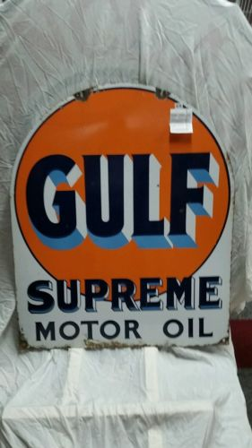 Original gulf supreme motor oil gas and oil porcelain sign