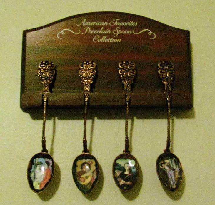 4 Antique Klepa Art Decorative Spoons from Czechoslovakia with famous paintings