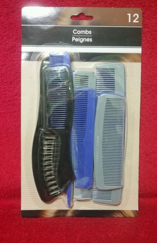 12 PACK OF VARIETY HAIR COMBS FOR MEN & WOMEN NEW