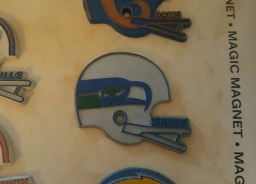 VINTAGE 1970s SEATTLE SEAHAWKS HELMET FRIDGE MAGNET.