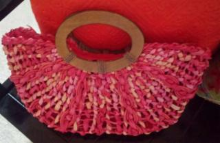 Coldwater Creek Wood Handle Straw Woven Handbag