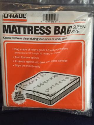 New In Package U-Haul Moving Queens Size Mattress Plastic Cover