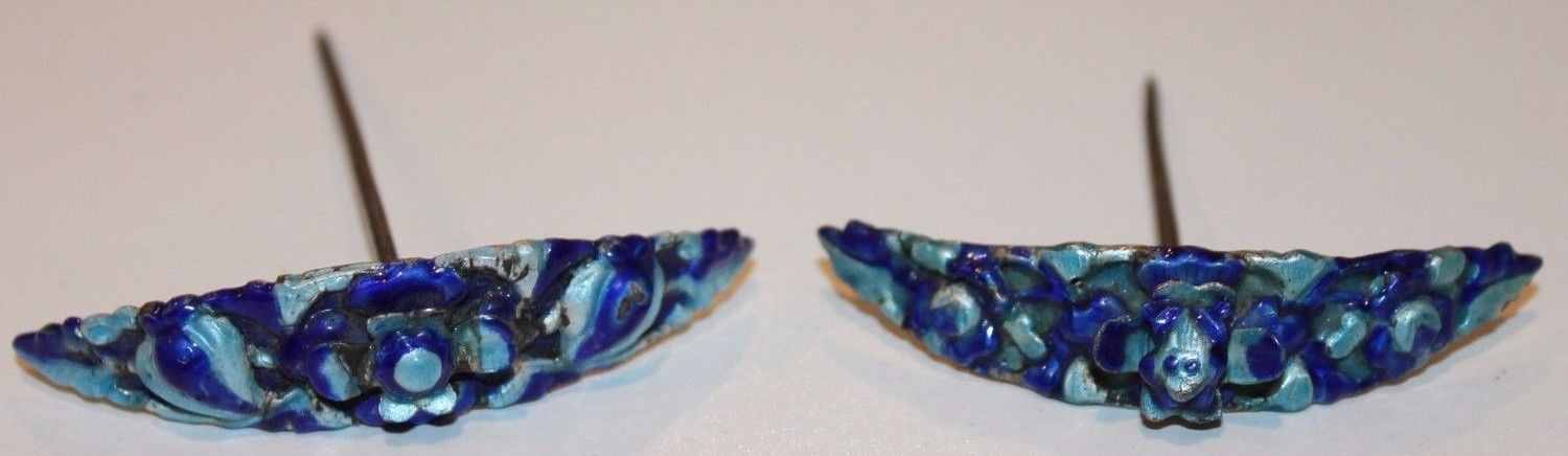 Old Antique Chinese Enamel Hair Pins Marked
