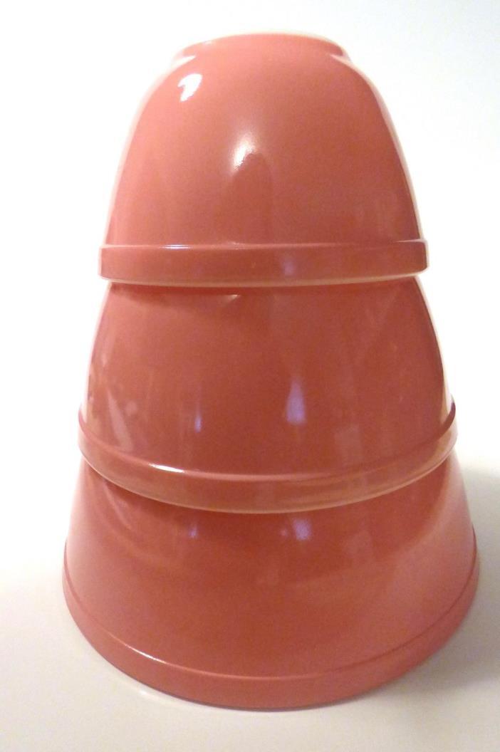 Vintage Pink Pyrex Mixing Bowls Set of Three