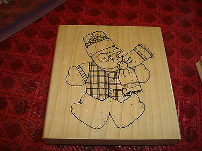 Rubber Stamp Snowman Winter Bell Scarf Holly Hat Carrot