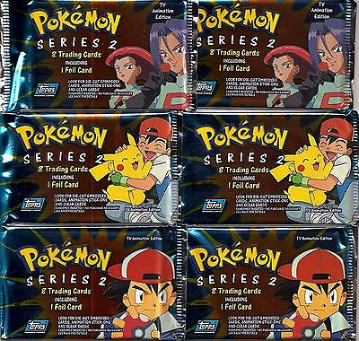 Topps Pokemon TV Animation Edtion Series 2 6-Pack Lot Trading Cards w/ Foil Card