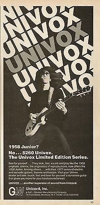 1977 Univox Limited Edition Series '58 Junior Guitar Print Ad