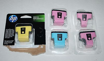 HP Genuine Lot of 5 02 Ink Printer Cartridges Light Magenta Cyan Yellow XL & Reg