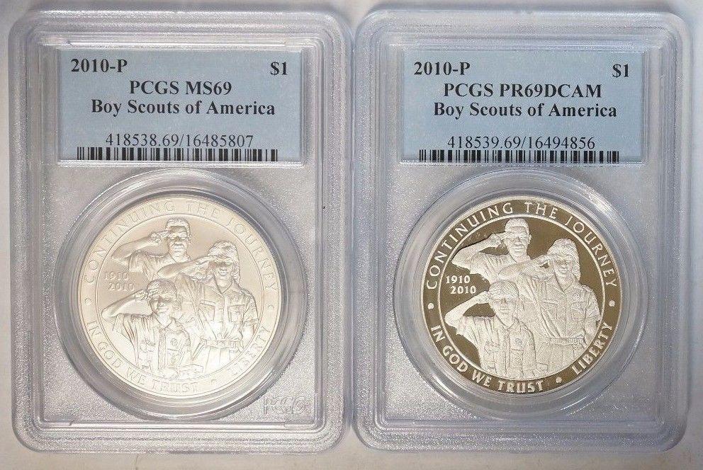 2010 P $1 Boy Scouts of America Commemorative Silver Dollar PCGS MS69 & PR69DCAM