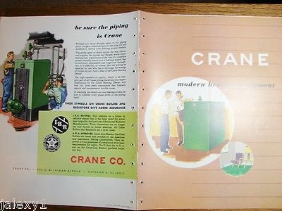 1952 CRANE CO Modern Heating Equipment BOILER Home ASBESTOS Use Vintage Catalog