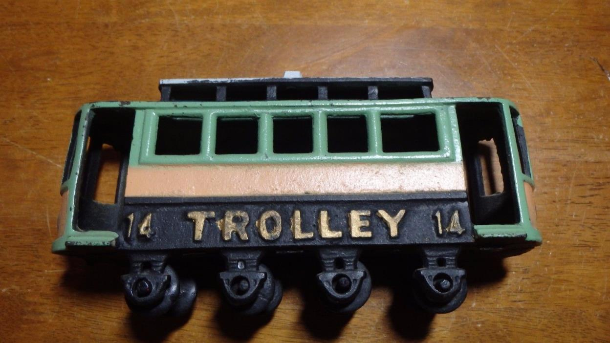 vintage cast iron trolley car #14 Old Toys Old Cast iron Toys Trolley Car bx 305