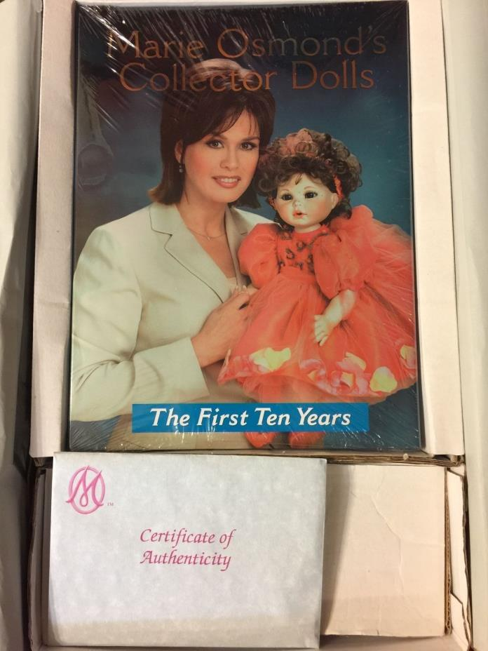 10th ANNIVERSARY REMEMBER ME SEATED PORCELAIN DOLL WITH BOOK MARIE OSMOND