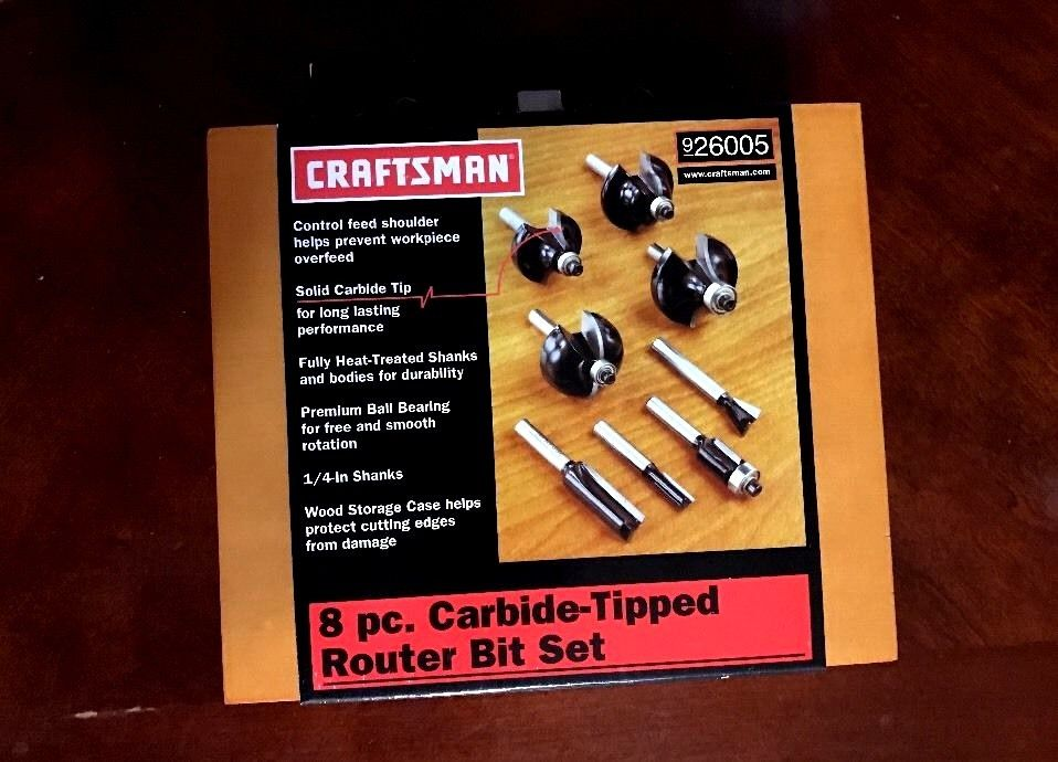 Craftsman 8pc Carbide-Tipped Router Bit Set  Wooden Storage Box || 926005