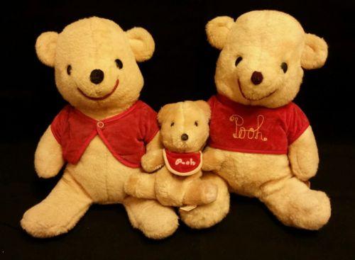 Lot of 3 Winnie the Pooh Disney California Stuffed Plush Toys Baby Bear Toy 7 12