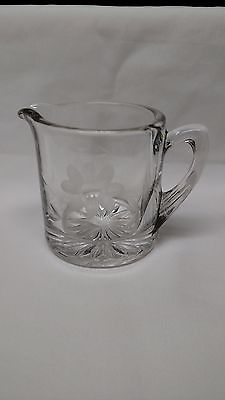 Small Etched Clear Glass Pitcher or Creamer