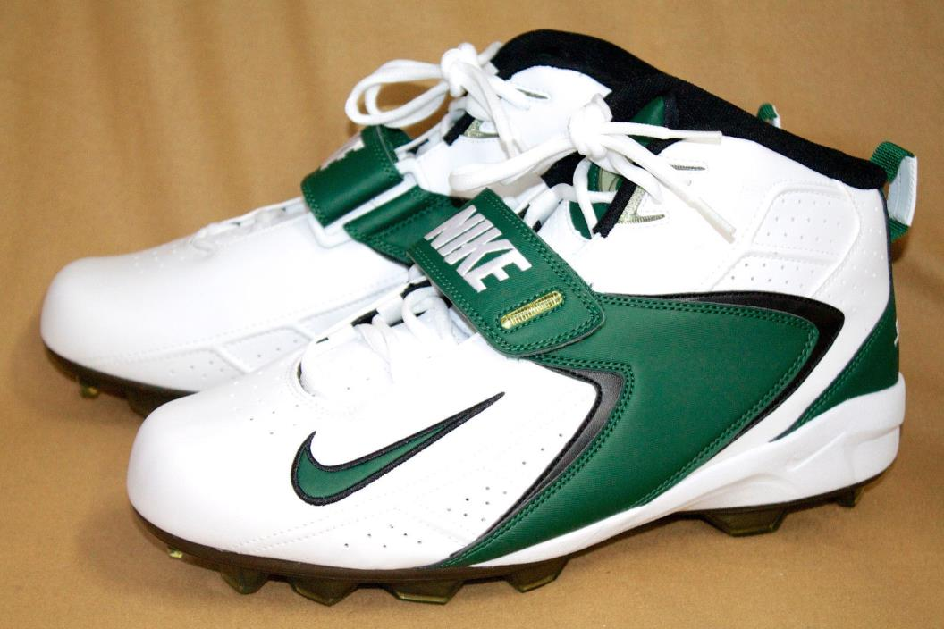 NWOB NIKE ZOOM AIR Men's 13.5M White Green Ankle Football Cleats Lace Up