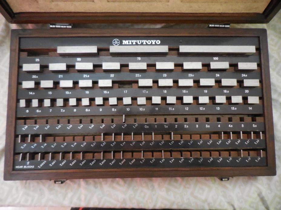 MITUTOYO GAGE 114 PIECE BLOCK SET Code # 516-939-02 Set # BM1-F112/1-2 with Case