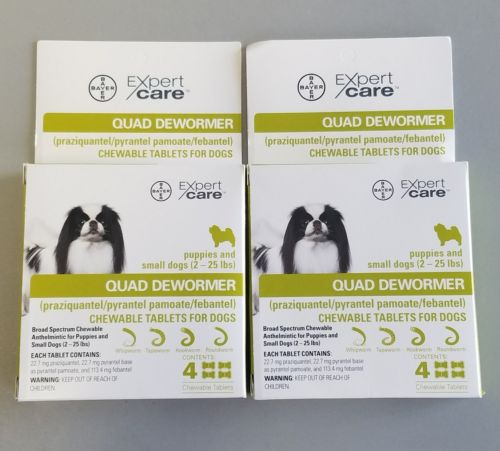 NEW Bayer Quad Dewormer Chewable 8 TABLETS (2 Packs) Puppies Small Dog 2-25 Lb