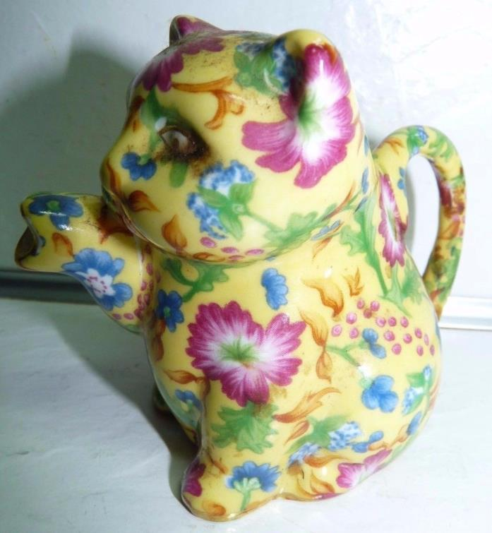 Two's Company CAROLINE Pattern Chintz Mini Figural Cat Creamer Pitcher