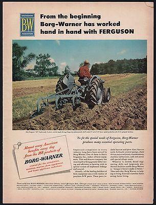 1952 FERGUSON 30 TRACTOR pulling plow...Borg-Warner Farming AD