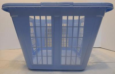 VINTAGE RETRO RUBBERMAID BLUE SQUARE PLASTIC CLOTHES LAUNDRY BASKET