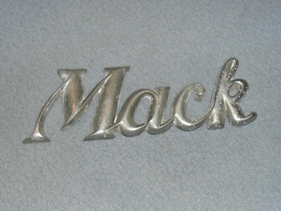 VINTAGE MACK TRUCK SCRIPT CHROME? METAL? CAR BADGE EMBLEM