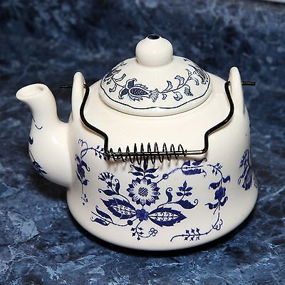 Teapot Cobalt Blue & White Porcelain or Ceramic Vintage REDUCED