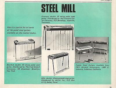1969 'Steel Mill' Emmons Sho-Bud MSA Fender Pedal Steel Guitar Print Ad