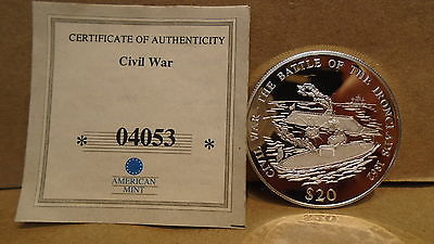2000 Republic Of Liberia 20 Dollars 20 Grams Of .999 Fine Silver Proof Coin