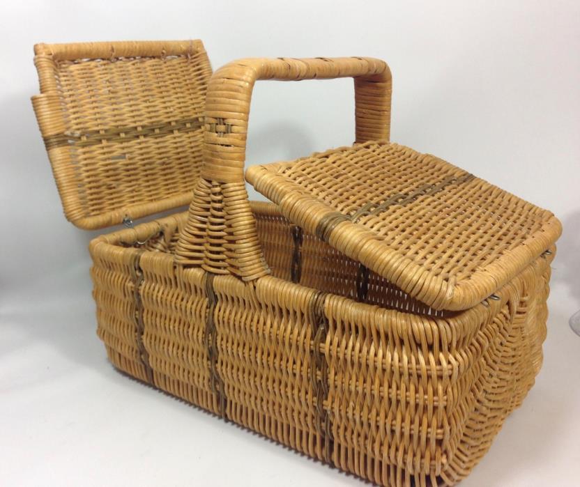 Vintage Wicker Mini Double Flip Top Woven Sewing Summer Picnic Basket-12