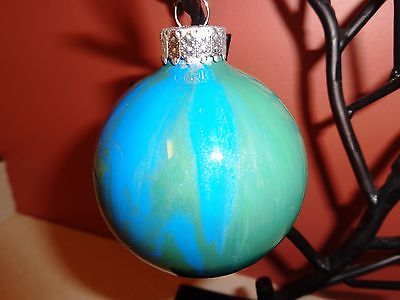 MARBLED ORNAMENT NYE DECOR NEW YEARS XMAS CHRISTMAS BLUE & GREEN