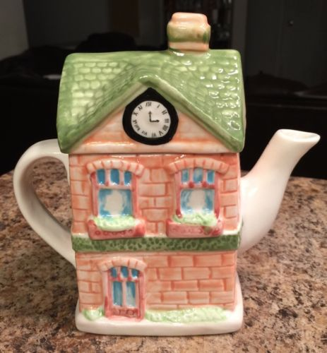 Beautiful House Shaped Decorative Teapot Ceramic Decor