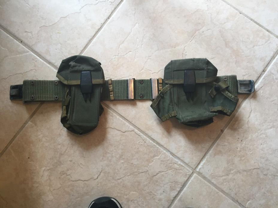 U.S. ARMY MILITARY SURPLUS AMMO BELT & POUCHES(2)