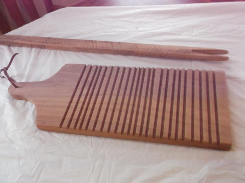 Antique Primitive Inspired Style Wood Mangle Stick Washboard Dry Sink Decor