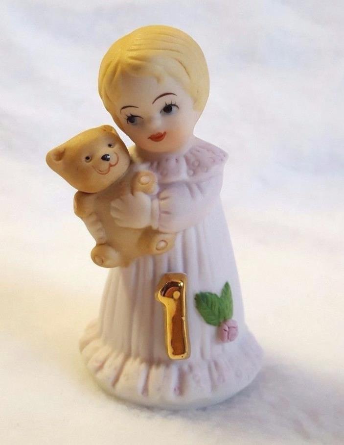 Growing Up Birthday Girls Figurine Age 1 Vintage Enesco 1981 Blonde Hair 2.5