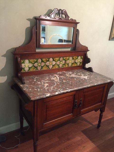 Antique Marble Topped Dry Sink