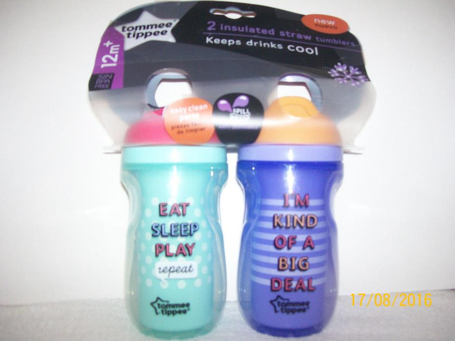 NEW TOMMEE TIPPEE (2) INSULATED STRAW TUMBLERS