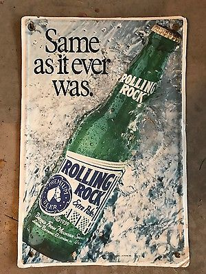 Rolling Rock Premium Beer Metal Sign. 18 x 12