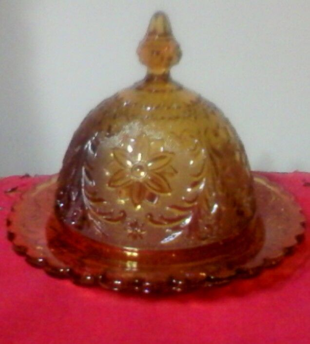 Tiara Amber Sandwich Glass Pattern Domed Butter Dish