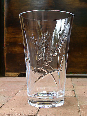 "Heavy 10"" Crystal Vase w Wheel-Cut Decoration; Nicely Finished; Contemporary"