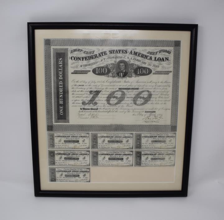 Framed 1863 Confederate $100