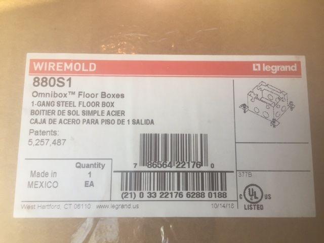 WIREMOLD LEGRAND 880S1 DEEP 1 GANG STEEL FLOOR  BOX SINGLE GANG OMNIBOX (NEW)
